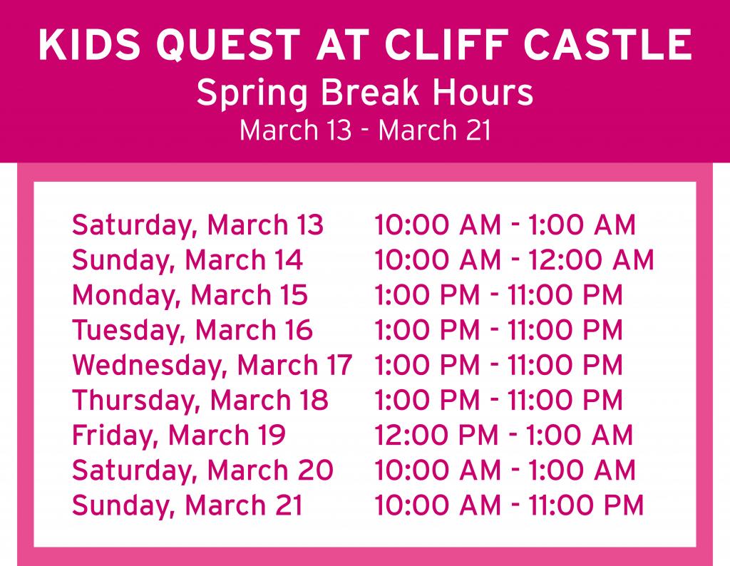 Cliff Castle Spring Break Hours