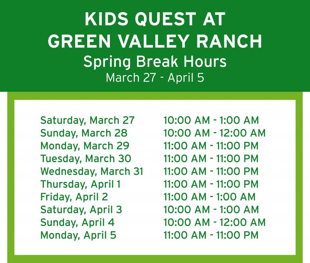 GVR Spring Break Hours