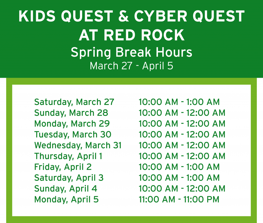 Red Rock Spring Break Hours
