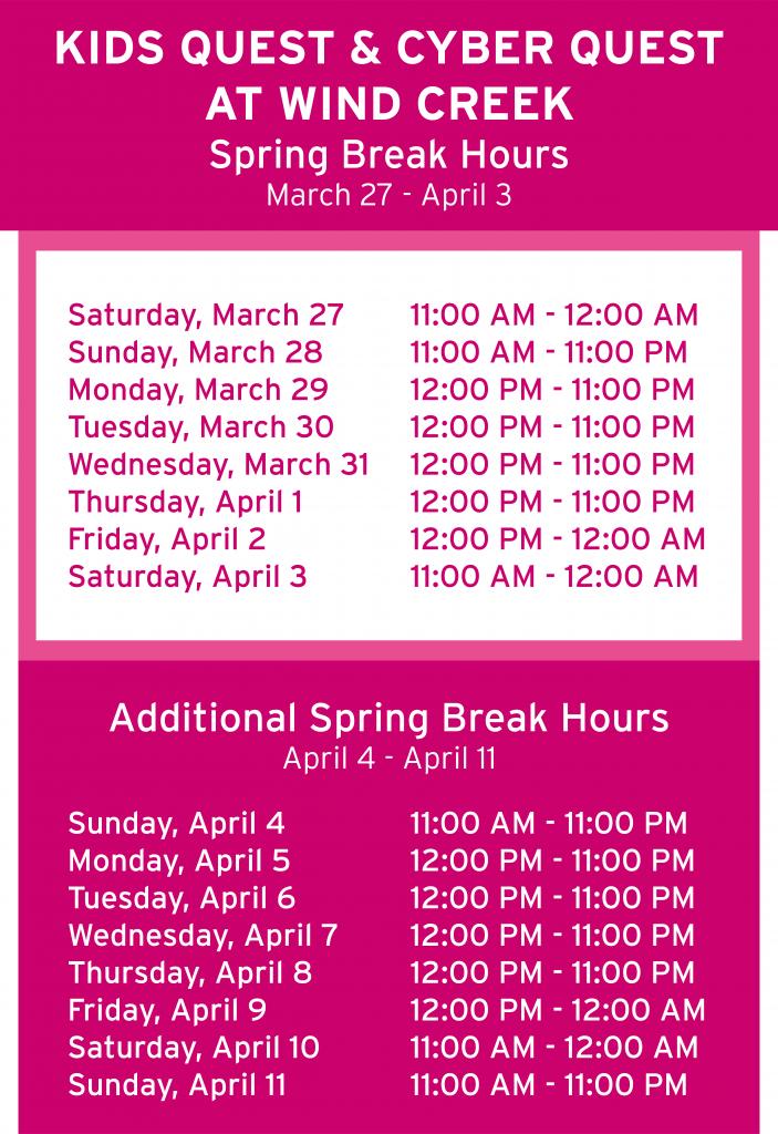 Wind Creek Spring Break Hours