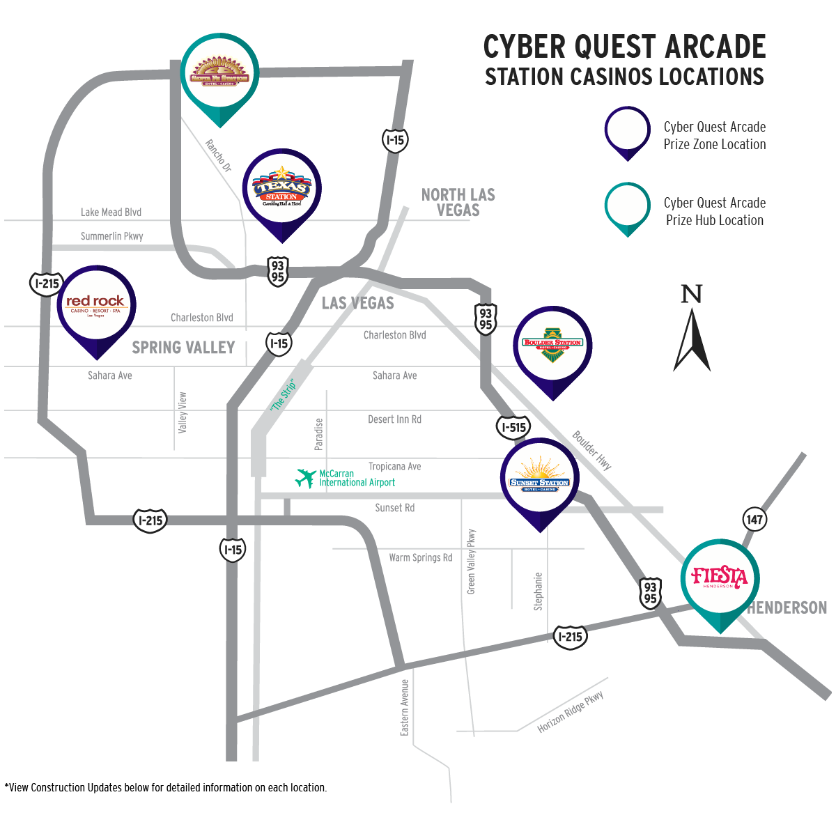 Cyber Quest Arcade Station Casinos Locations